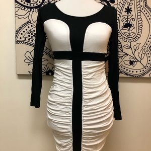 ASOS Sexy Black & White Ruched Long Sleeve Dress